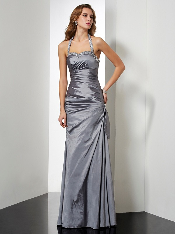 Trumpet/Mermaid Halter Beading Dress with Taffeta