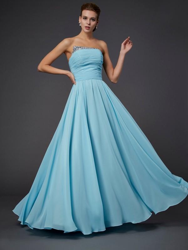 Sheath/Column Strapless Beading Dress with Chiffon