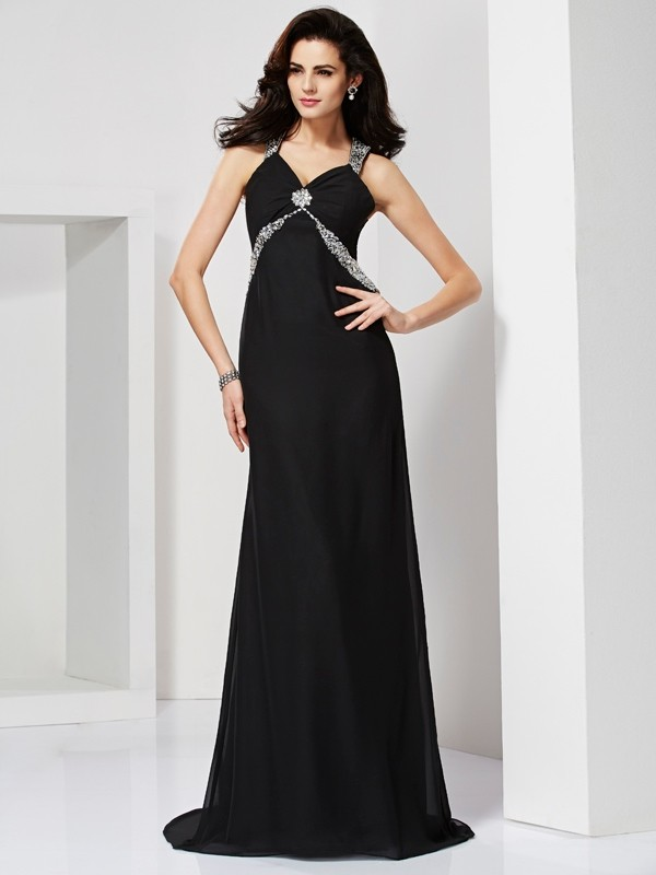 Sheath/Column Straps Beading Dress with Chiffon