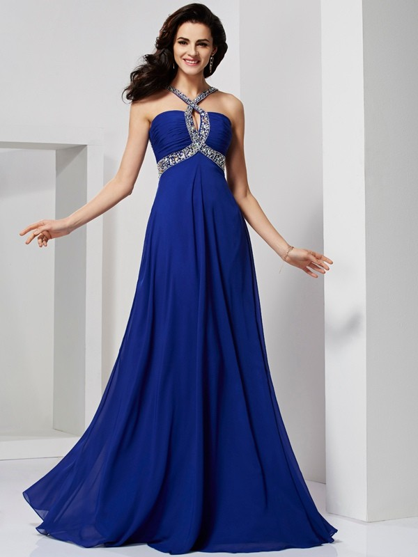 A-Line/Princess Pleats Dress with Chiffon