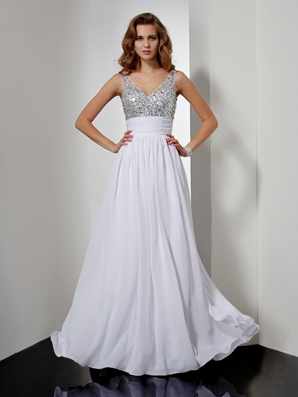 A-Line/Princess V-neck Sleeveless Long Chiffon Dresses