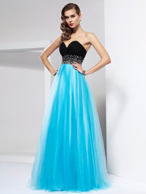 A-Line/Princess Sweetheart Sleeveless Long Net Dresses