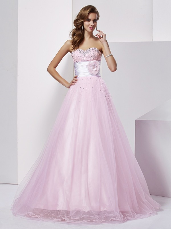 Ball Gown Strapless Beading Sleeveless Long Elastic Woven Satin Quinceanera Dresses