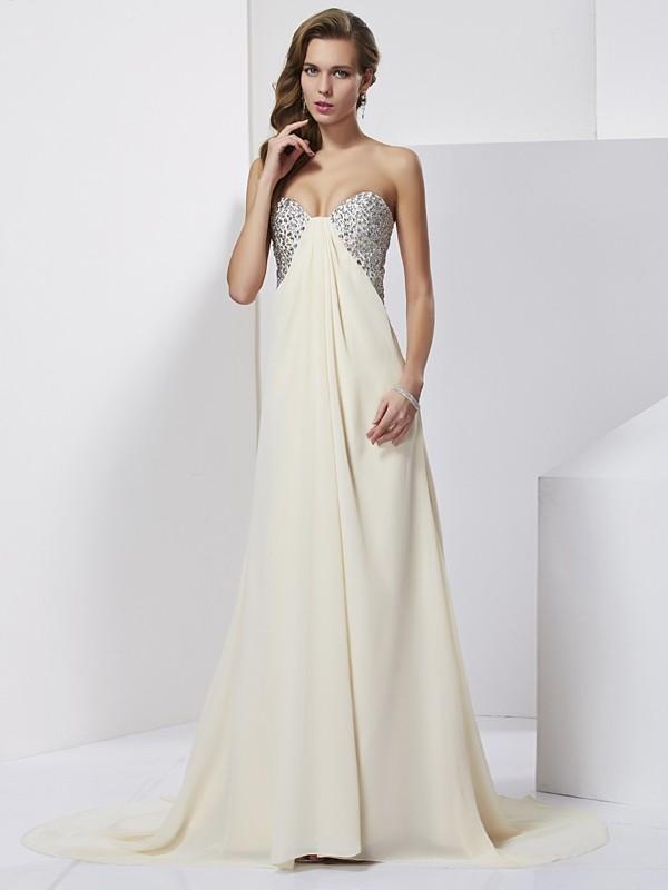Sheath/Column Sweetheart Beading Sleeveless Long Chiffon Dresses