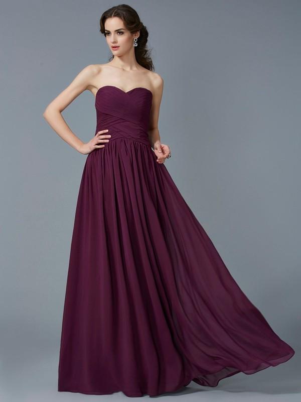 A-Line/Princess Sweetheart Sleeveless Pleats Chiffon Long Dresses