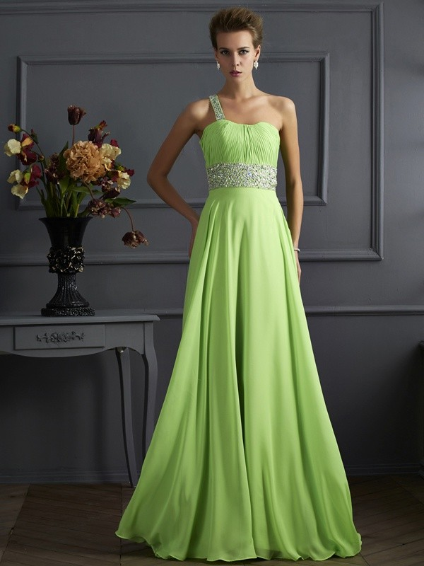A-Line/Princess Beading Sleeveless One-Shoulder Chiffon Long Dresses