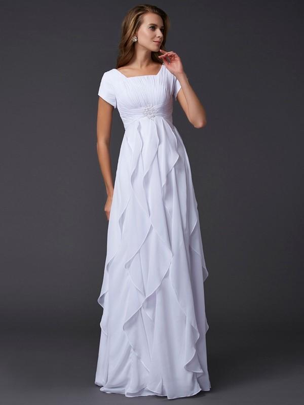 Sheath/Column Square Short Sleeves Ruffles Long Chiffon Dresses