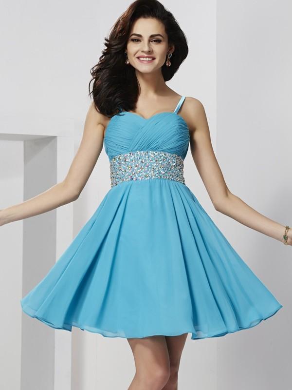 A-Line/Princess Spaghetti Straps Sleeveless Short Chiffon Homecoming Dresses