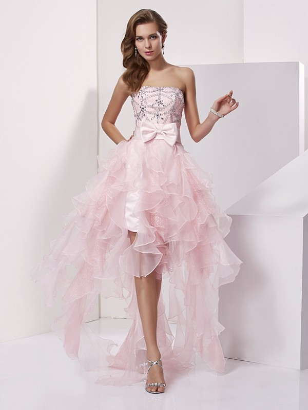 A-Line/Princess Strapless Beading Sleeveless High Low Organza Homecoming Dresses