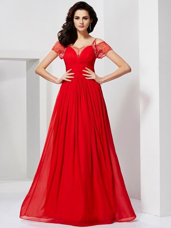 A-Line/Princess Spaghetti Straps Short Sleeves Ruffles Long Chiffon Dresses