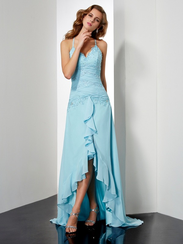 A-Line/Princess Spaghetti Straps Beading Sleeveless Crystal High Low Chiffon Dresses