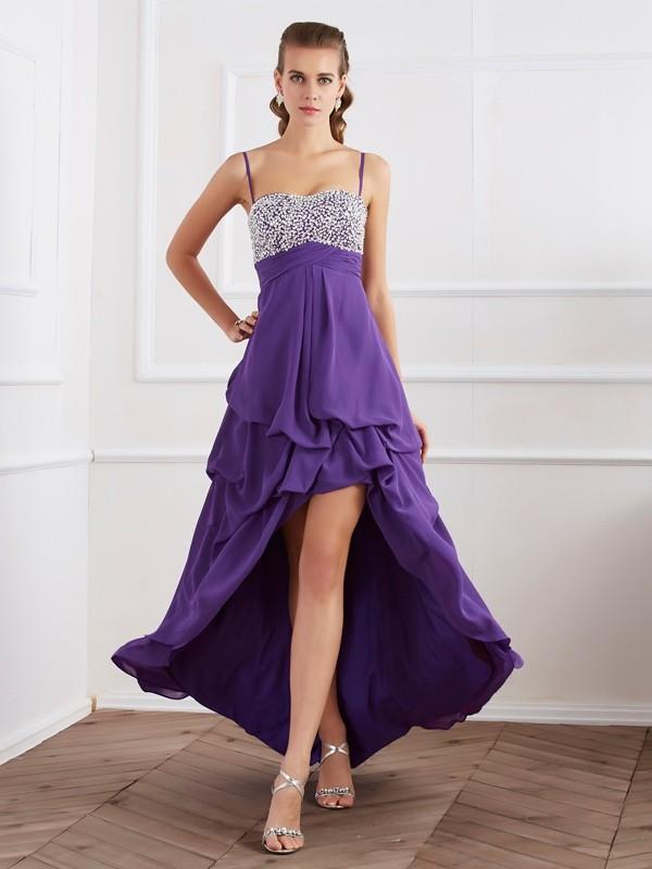 A-Line/Princess Spaghetti Straps Sleeveless Ruffles High Low Chiffon Dresses