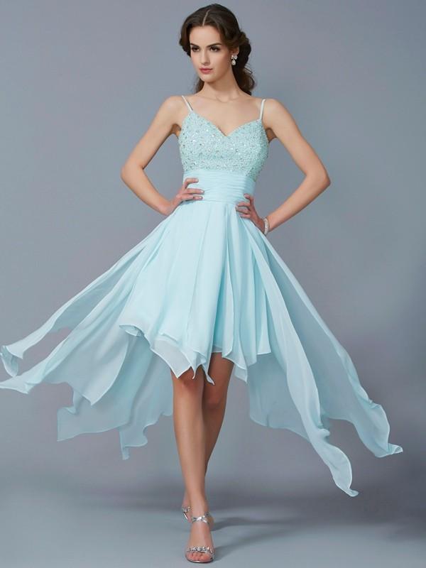 A-Line/Princess Spaghetti Straps Beading Sleeveless High Low Chiffon Homecoming Dresses