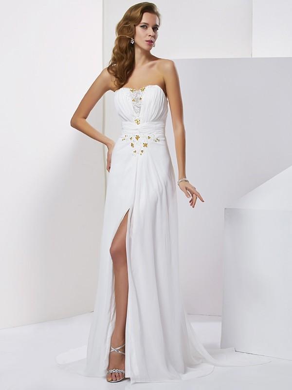 A-Line/Princess Sweetheart Applique Beading Sleeveless Long Chiffon Dresses