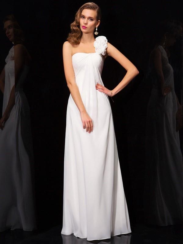 A-Line/Princess One-Shoulder Sleeveless Pleats Hand-Made Flower Long Chiffon Dresses