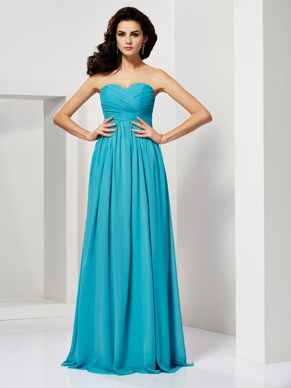A-Line/Princess Pleats Sweetheart Sleeveless Long Chiffon Dresses