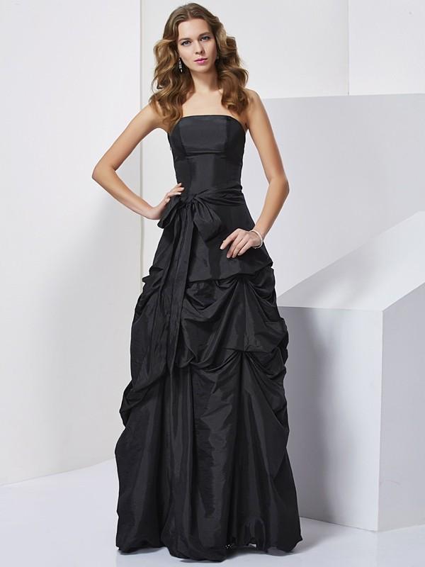 Sheath/Column Strapless Sleeveless Bowknot Long Taffeta Dresses