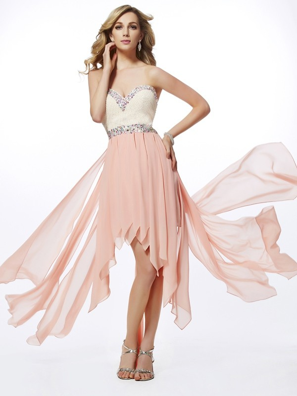 A-Line/Princess Sweetheart Beading Sleeveless High Low Chiffon Dresses