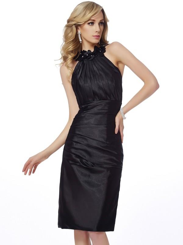 Sheath/Column Bateau Sleeveless Applique Elastic Woven Satin Homecoming Dresses