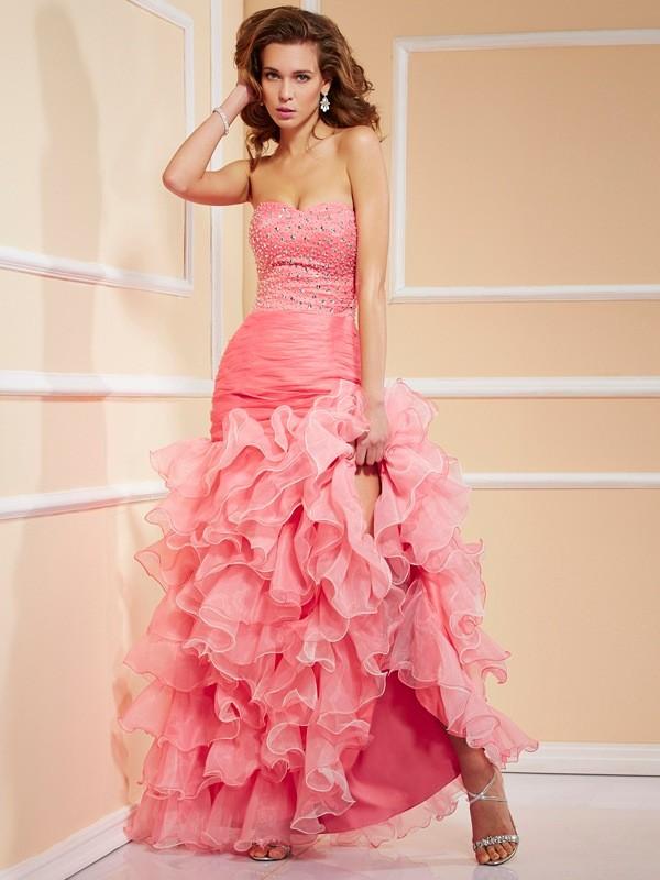 Trumpet/Mermaid Sweetheart Sleeveless Ruffles High Low Organza Dresses
