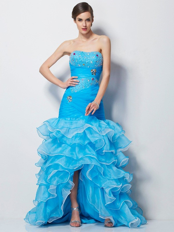 Trumpet/Mermaid Sweetheart Beading Sleeveless High Low Tulle Dresses