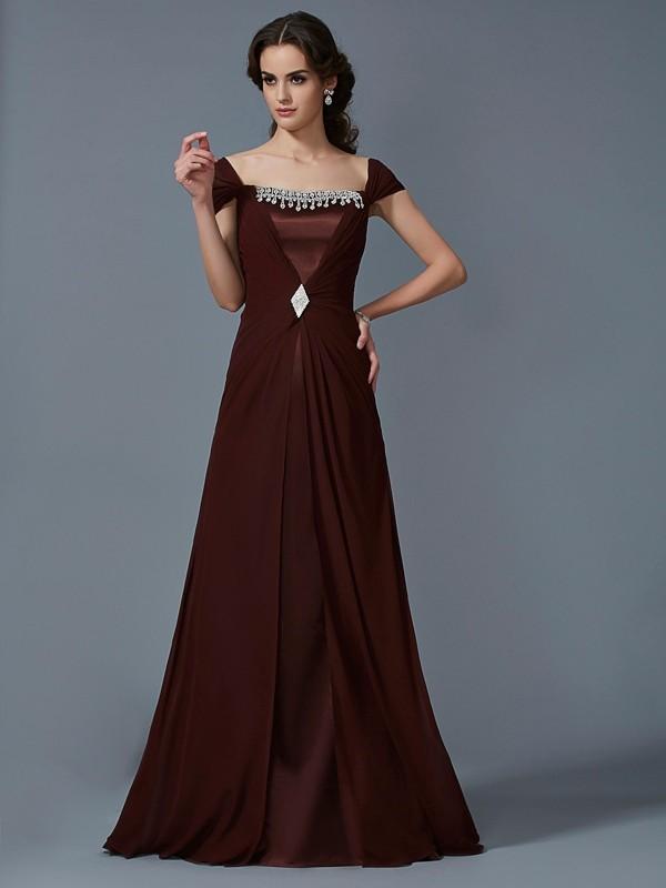 A-Line/Princess Strapless Short Sleeves Long Chiffon Dresses