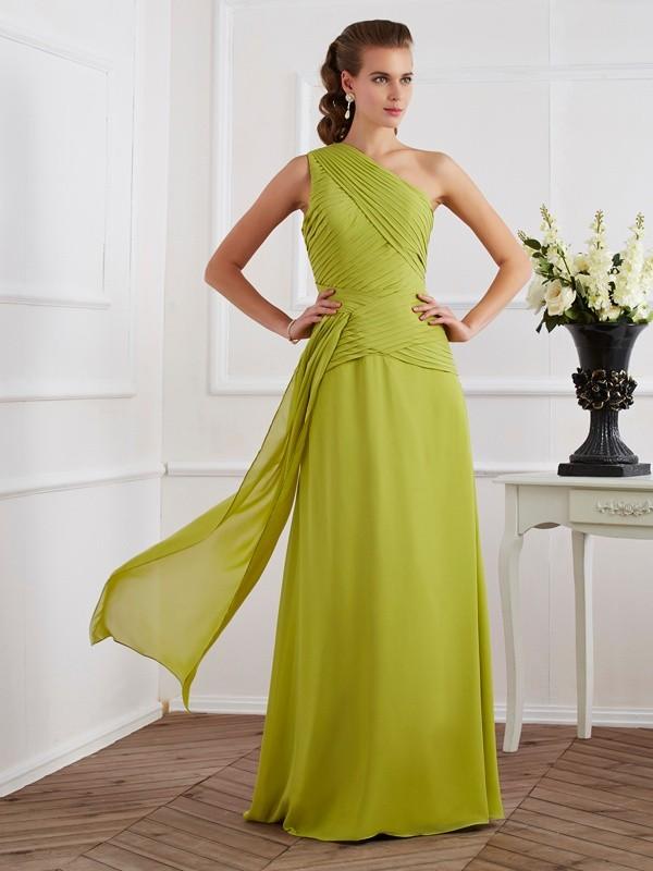 A-Line/Princess One-Shoulder Sleeveless Pleats Long Chiffon Dresses