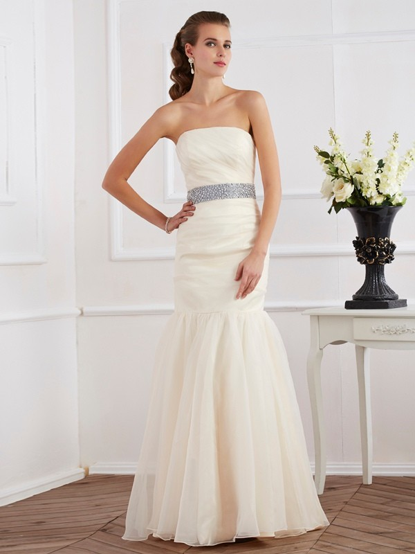Trumpet/Mermaid Strapless Sleeveless Long Organza Dresses