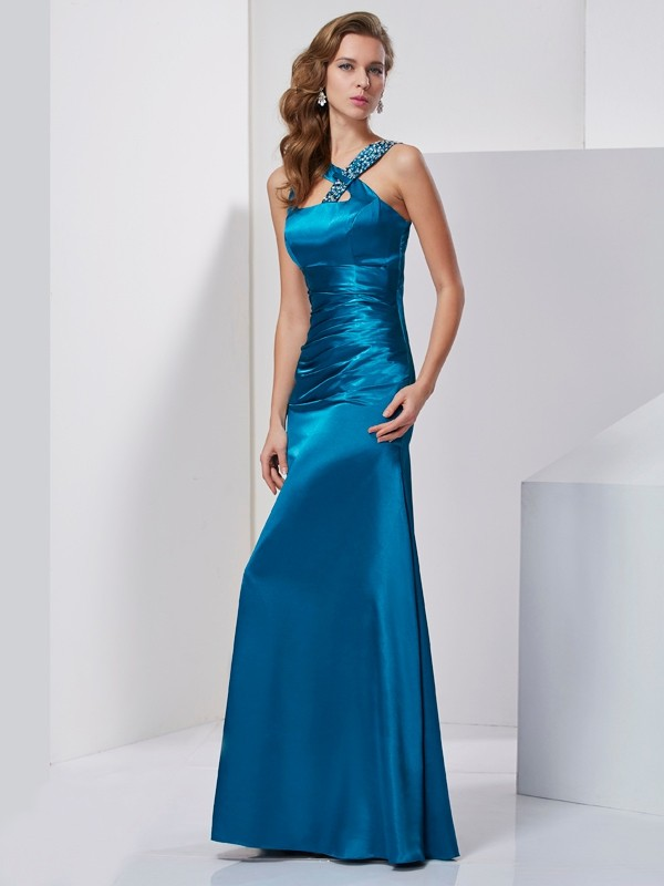 Sheath/Column Straps Beading Sleeveless Long Silk like Satin Dresses