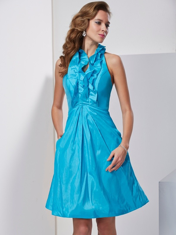 A-Line/Princess Halter Sleeveless Ruffles Short Taffeta Homecoming Dresses