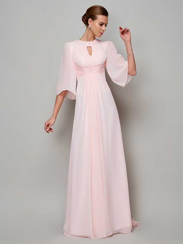 A-Line/Princess 1/2 Sleeves Beading Long Chiffon Mother of the Bride Dresses