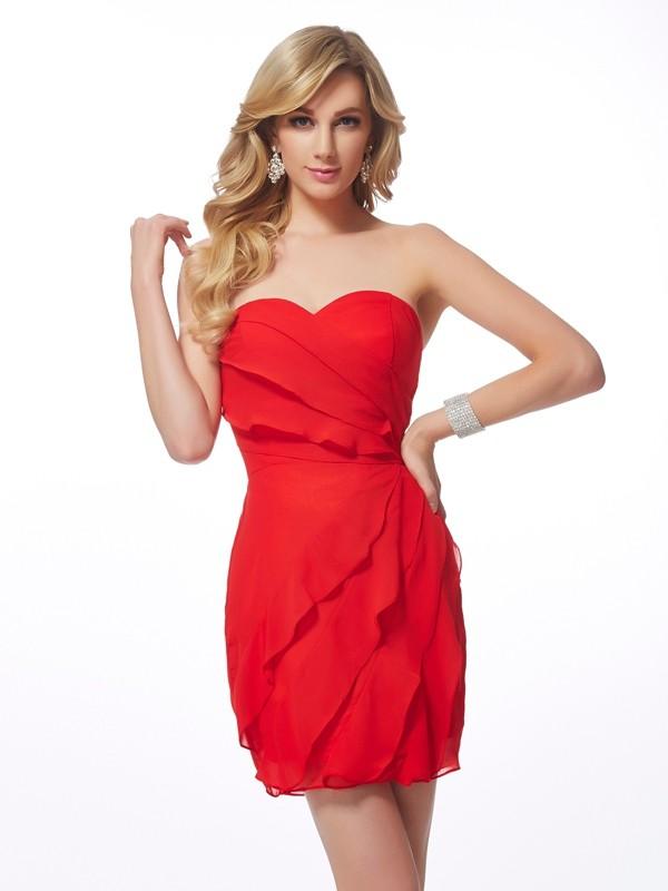 Sheath/Column Sweetheart Sleeveless Ruffles Short Chiffon Homecoming Dresses