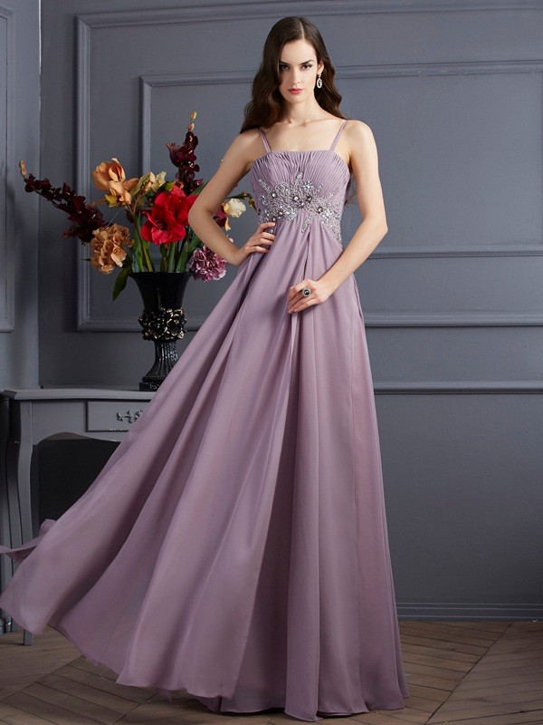 Empire Spaghetti Straps Beading Sleeveless Long Chiffon Dresses