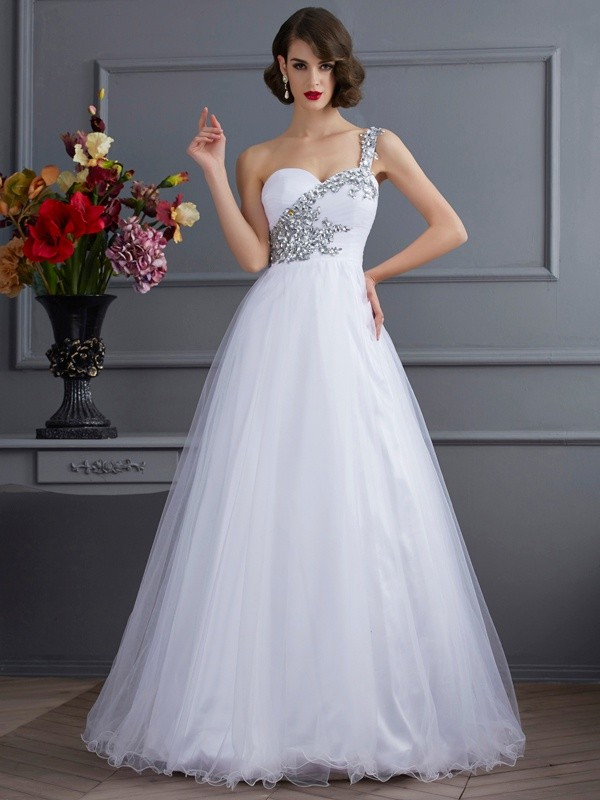 Ball Gown One-Shoulder Beading Sleeveless Long Elastic Woven Satin Quinceanera Dresses