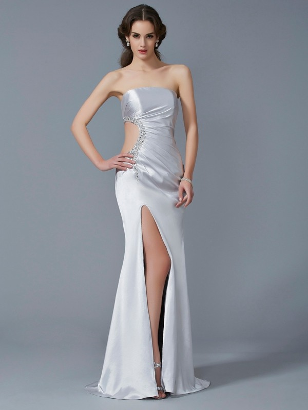 Trumpet/Mermaid Strapless Beading Sleeveless Long Elastic Woven Satin Dresses