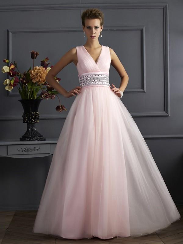 Ball Gown V-neck Beading Sleeveless Long Net Dresses