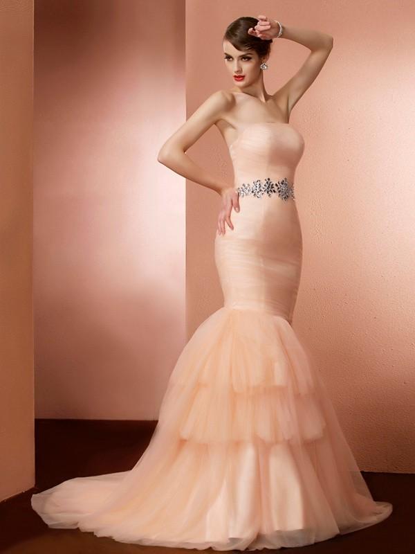 Trumpet/Mermaid Strapless Beading Sleeveless Long Net Dresses