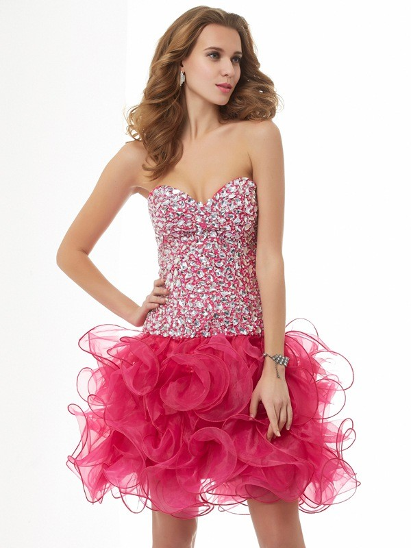 Sheath/Column Sweetheart Beading Sleeveless Short Organza Homecoming Dresses
