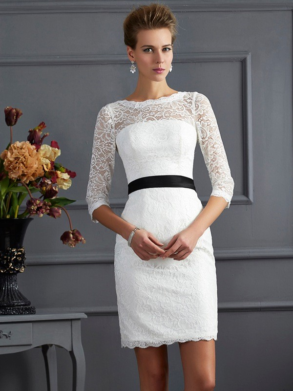 Sheath/Column Scoop 3/4 Sleeves Short Lace Mother of the Bride Dresses
