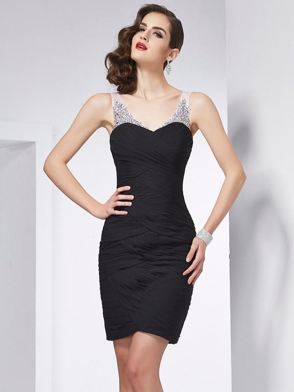 Sheath/Column Straps Beading Sleeveless Short Chiffon Homecoming Dresses