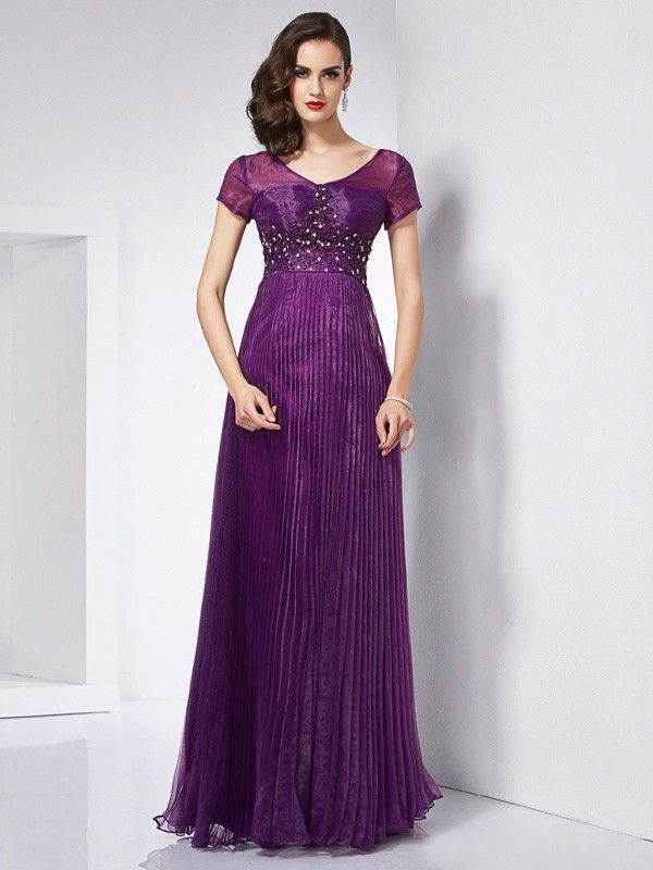 A-Line/Princess V-neck Short Sleeves Beading Long Organza Dresses