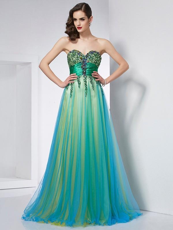 Ball Gown Sweetheart Sleeveless Ruffles Long Elastic Woven Satin Dresses