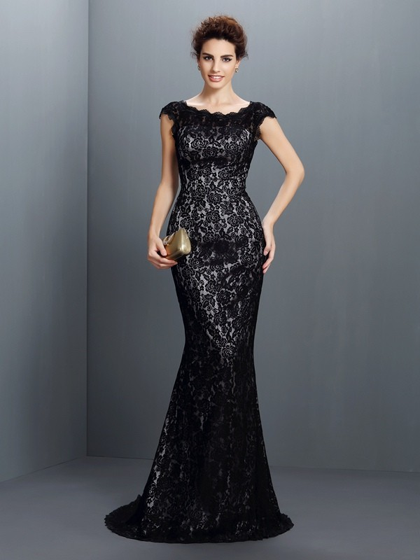 Trumpet/Mermaid Bateau Lace Short Sleeves Long Lace Dresses