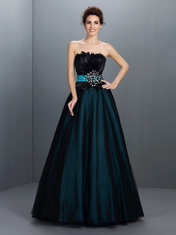 Ball Gown Strapless Sleeveless Long Elastic Woven Satin Quinceanera Dresses