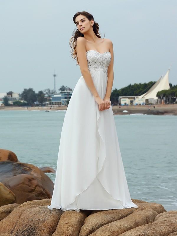 A-Line/Princess Sweetheart Beading Sleeveless Long Chiffon Beach Wedding Dresses
