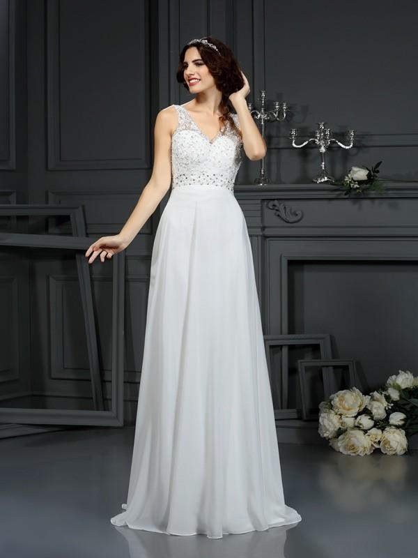 A-Line/Princess V-neck Lace Sleeveless Long Chiffon Wedding Dresses