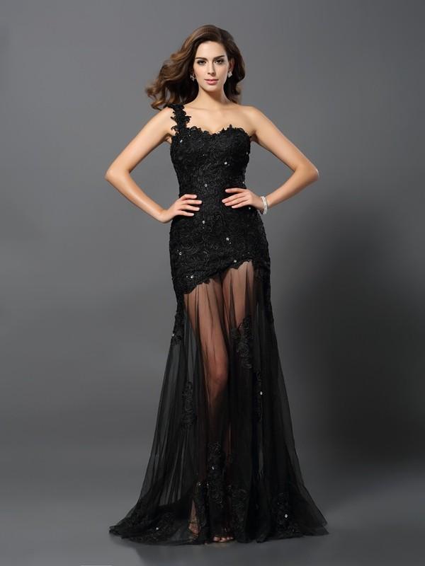 Sheath/Column One-Shoulder Applique Sleeveless Long Lace Dresses