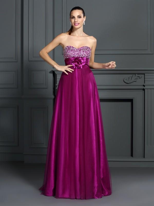 A-Line/Princess Sweetheart Hand-Made Flower Sleeveless Long Elastic Woven Satin Dresses