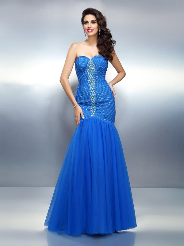 Trumpet/Mermaid Sweetheart Sleeveless Long Satin Dresses