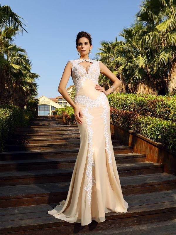 Sheath/Column Applique Sleeveless Long Chiffon Dresses
